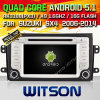 Carro DVD do Android 5.1 de Witson para Suzuki Sx4 2006-2014 com retrato da pia batismal DVR do Internet da ROM WiFi 3G de Rockchip 3188 1080P 16g do núcleo do quadrilátero (W2-F9657X)
