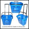 Panier à provisions pliable en plastique de supermarché en gros avec de doubles traitements