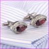 Cufflinks van het Bergkristal van de Diamant van de manier Rode Robijnrode