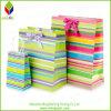 De kleurrijke Zak van de Gift van het Document van het Ontwerp van de Manier Gestreepte Kosmetische met Bowknot