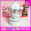 2015 деревянное Christmas Wind вверх по Carousel Music Box, Christmas Decoration Wooden Carousel Music Box W02A037