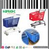 Caddie en plastique coloré en métal de supermarché populaire de type
