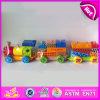 Воспитательная цветастая тяга 2015 вдоль деревянной игрушки поезда блока для младенца W05c018
