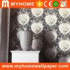 Papeles pintados hermosos del negro del papel de empapelar de la flor para las paredes