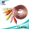3RCA Male Transparent Cableへの可聴周波Video Cable 3RCA Male