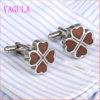Do Rosewood afortunado da folha de VAGULA o aço inoxidável Cuffs os botão de punho de madeira vermelhos 360