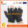 Les gants de polyester de coton avec le mini PVC de demi de noir de doigt pointille Dkp518