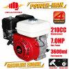 motor de gasolina refrigerado de Ohv del movimiento de 7.0HP 210cc 4