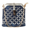 O Arrival o mais novo Denim e o Leather Handbags /Shoulder Bag, Diamond Gold Metal Chain Bucket Bag (HD26-014)