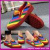 Novo Shinny sapatas sexy da combinação de cor das mulheres 2015 sapatas lisas do corte do ponto baixo (ASD008)