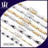 Nuevo oro de los tonos 24k del diseño dos y collar de cadena de los hombres de la plata