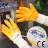 Nmsafety 면 쉘 황색 니트릴 코팅 안전 장갑