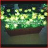 PotのDecorative Office LED Light Flowerのための黄色いFlowerおよびGreen Leaf New Design