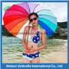 Parapluie automatique en bois d'arc-en-ciel de promotion de parasol coloré de fantaisie de cadeau