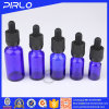 Frasco de vidro do conta-gotas do azul de cobalto com o frasco de petróleo essencial de vidro do perfume do tampão sem perigo para as crianças