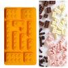 El molde material de la torta del silicón de la categoría alimenticia del certificado del FDA, Tetris formó el molde de la torta del silicón/el molde triple del hielo de la dimensión de una variable de Tetris