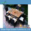 Giardino del patio che pranza insieme con la parte superiore di legno della plastica e del rattan