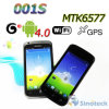 Mtk6577 conjuguent le noyau 1GHz 4/4.3inch androïde WiFi capacitif GPS 3G Smartphone (001S)