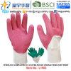 Вкладыш блокировки, перчатки латекса 3/4 покрытые (L1903), грубая отделка Crinkle, запястье руки Knit с CE, En388, En420, перчатками работы