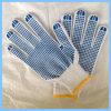 Перчатки хлопка безопасности связанные деятельностью с многоточиями PVC