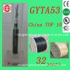 Однорежимный, котор сели на мель напольный кабель стекловолокна GYTA53 для радиосвязи