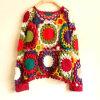 Vestito su ordinazione dalla parte superiore del cardigan del Halter del maglione del Crochet della mano dell'annata di modo