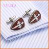 VAGULA 유행 프랑스 셔츠 스테인리스 빨간 목제 커프스 단추 128