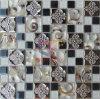花模様の金属の組合せの絹によって支持される水晶モザイク(CFM862)