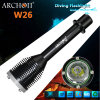 Linterna que se zambulle de gran alcance recargable W26 de 18650 lúmenes LED de la batería *2 del CREE 1000