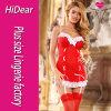 セクシーなランジェリーのクリスマスはGストリングストッキングが付いている赤いChemiseのレースのベビードールを着せる