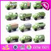 2015の熱い販売の子供の木の軍用車両、木車のおもちゃの小型軍用車両、緑色の小型軍用車両のおもちゃW04A154
