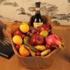 Di legno Handmade, ciotola di frutta della famiglia