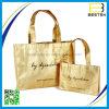 Хозяйственная сумка Tote золота прокатанная рогожкой Non сплетенная для промотирования