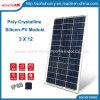30W 3X12 kristallenes Polysilikon PV-Solarbaugruppen-Panels