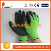 Gant noir enduit de latex de revêtement vert (DKL814)