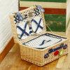 カントンの公平な卸し売り枝編み細工品は自然なカラーの着色された長方形のピクニックバスケットを扱った