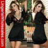 Reizvolle kurze Hülsen-Minikleid der klassischen schwarzen Lace-up Clubwear Frauen