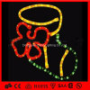 Lumière de motif de corde de PVC de chaussette de cadeau de Noël de LED