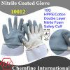 10G ВЭПЭ / хлопок двойной слой Трикотажные перчатки с нитрил Пена покрытием Палм & Защитная манжета / EN388: 4221