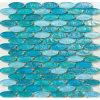 Mosaico blu lustrato figura ovale di vetro del raggruppamento
