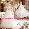 Princess bonito Cap Sleeve Dress Wedding com capela Train