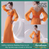Orange Chiffon- Women Evening Maxi Dress SGS Real Image Long Sleeve Mother von The Bride Dress (GDNY182)