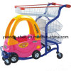 Carretilla plástica de las compras del asiento del juguete del supermercado de los niños