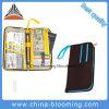 El documento de viaje marca el bolso de la carpeta del sostenedor de la caja del pasaporte del organizador del crédito