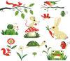 Etiqueta engomada de la pared de la decoración del mundo animal de la ardilla del ratón del conejo de la tortuga Df5082