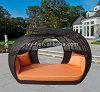 藤のネストデザイン大きいSunbedの屋外のChaiseのLoungerのプールサイドSunbed