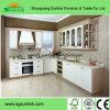 Gabinete de cozinha moderno da cor de madeira misturada lustrosa branca da laca