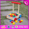 2015 neues Arrival Wooden Walking Cart Toy für Kids, Children Spaziergänger Wooden Cart mit Block, Highquality Wooden Baby Cart W16e018