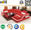 Sofa en cuir combinationnel moderne avec le dossier réglable, rouge (HC1074)