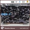Marbre noir bon marché de plancher de fleur de la Chine avec les veines blanches